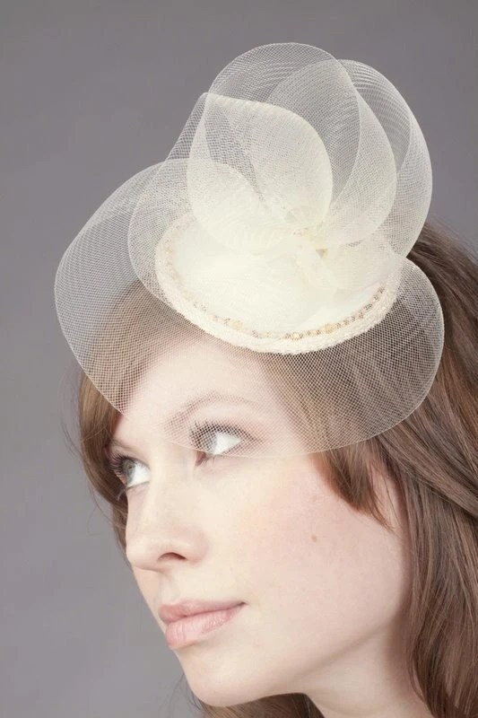 Illa Crin and Satin Wedding Hat by Love Charlie with hand beaded edge and lace details