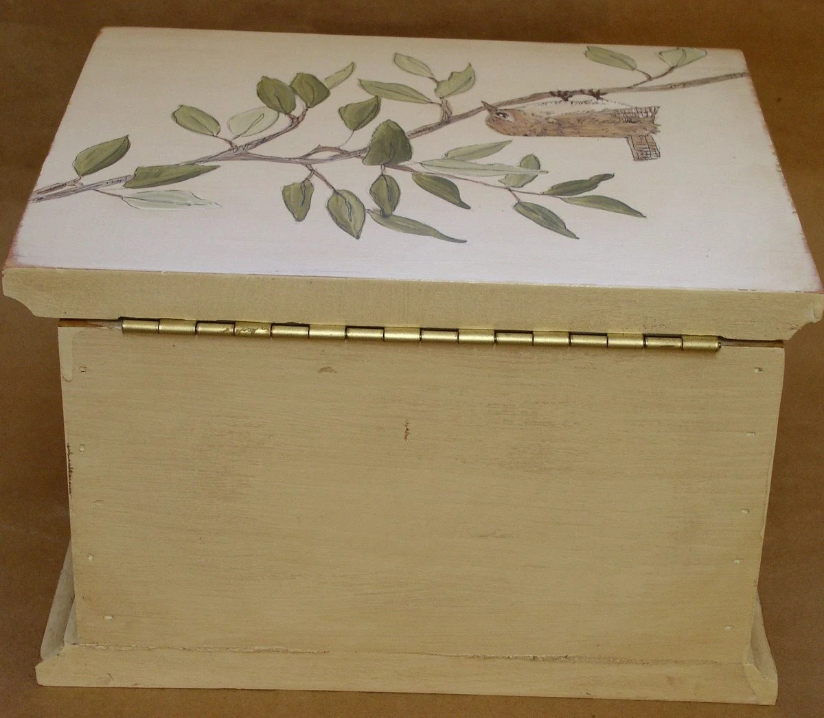 Handpainted Hinged Wood Box with Birds on Tree Branch