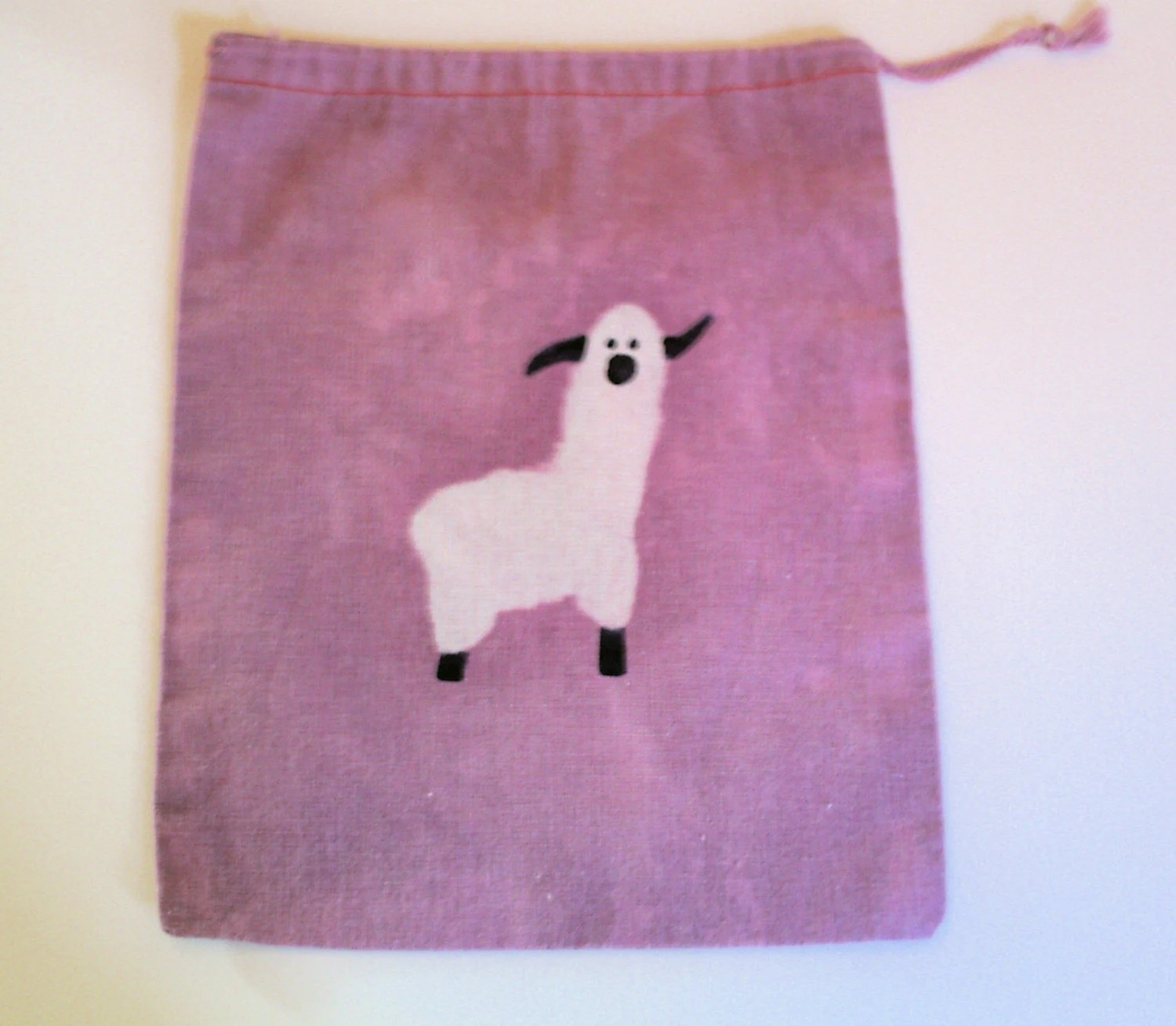 FREE SHIPPING batik ALPACA mini project or notion drawstring bag NO TEXT