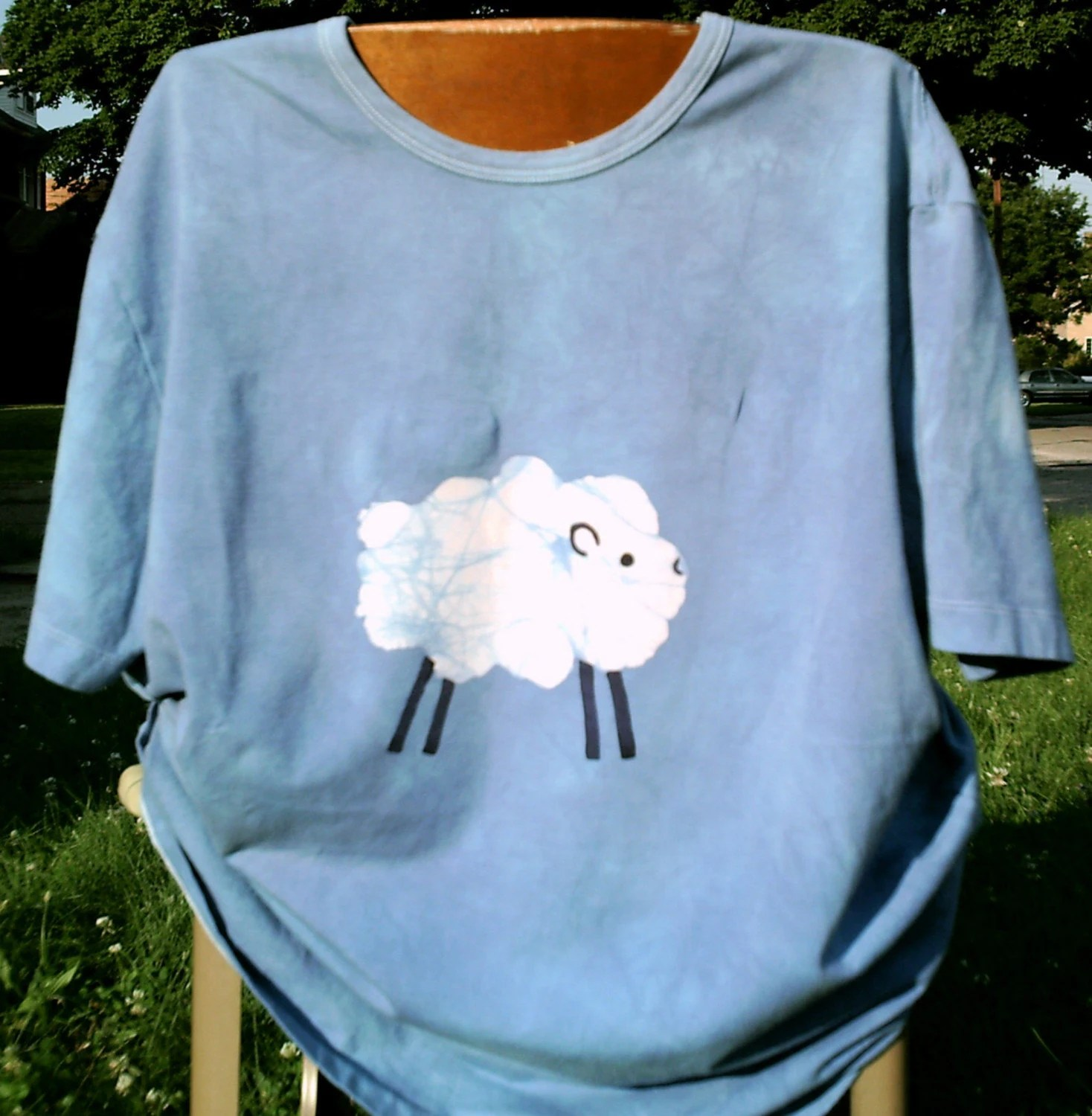 Batik SHEEP tshirt blue 2XL GOT WOOL