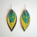 Turquoise and Yellow Leather Leaves
