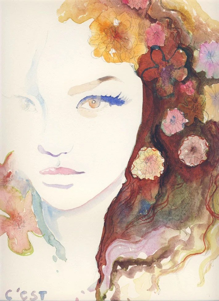 Watercolor Fashion Illustration - C'est Magique