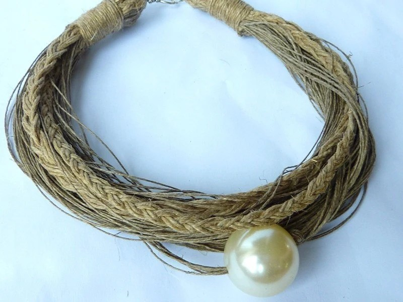 Just One Pearl linen necklace by Cynamonn