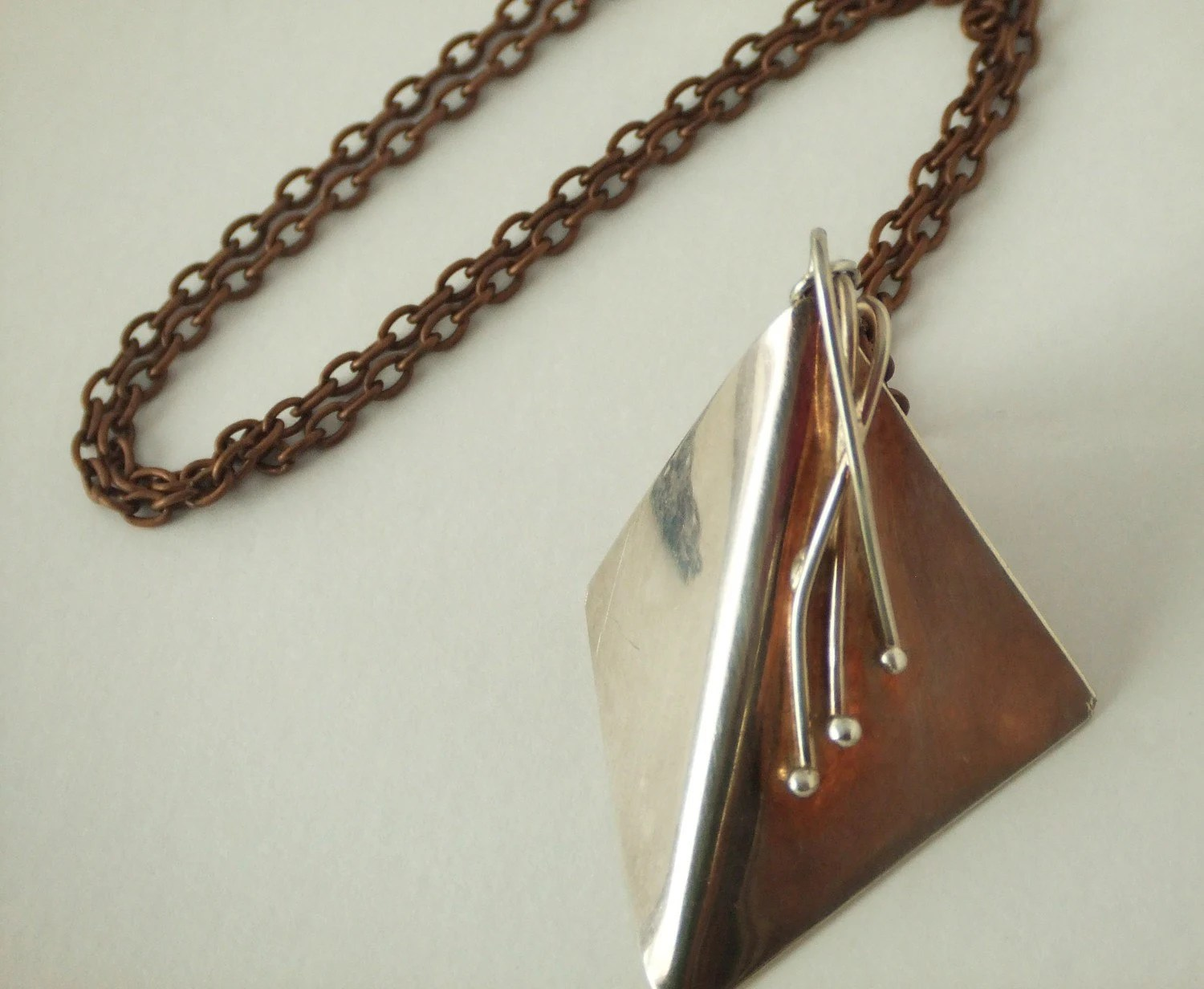Vintage Look Copper Necklace with Sterling Silver Square Pendant