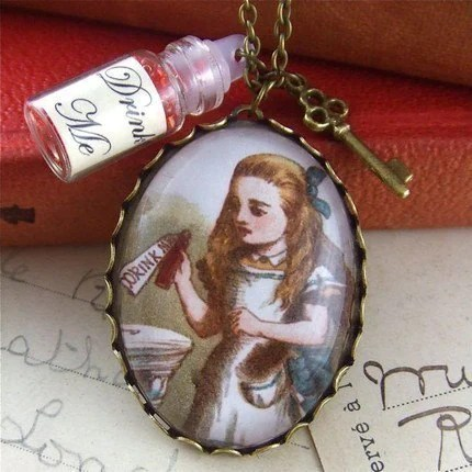 alice in wonderland jewellery, pendant locket necklace drink me