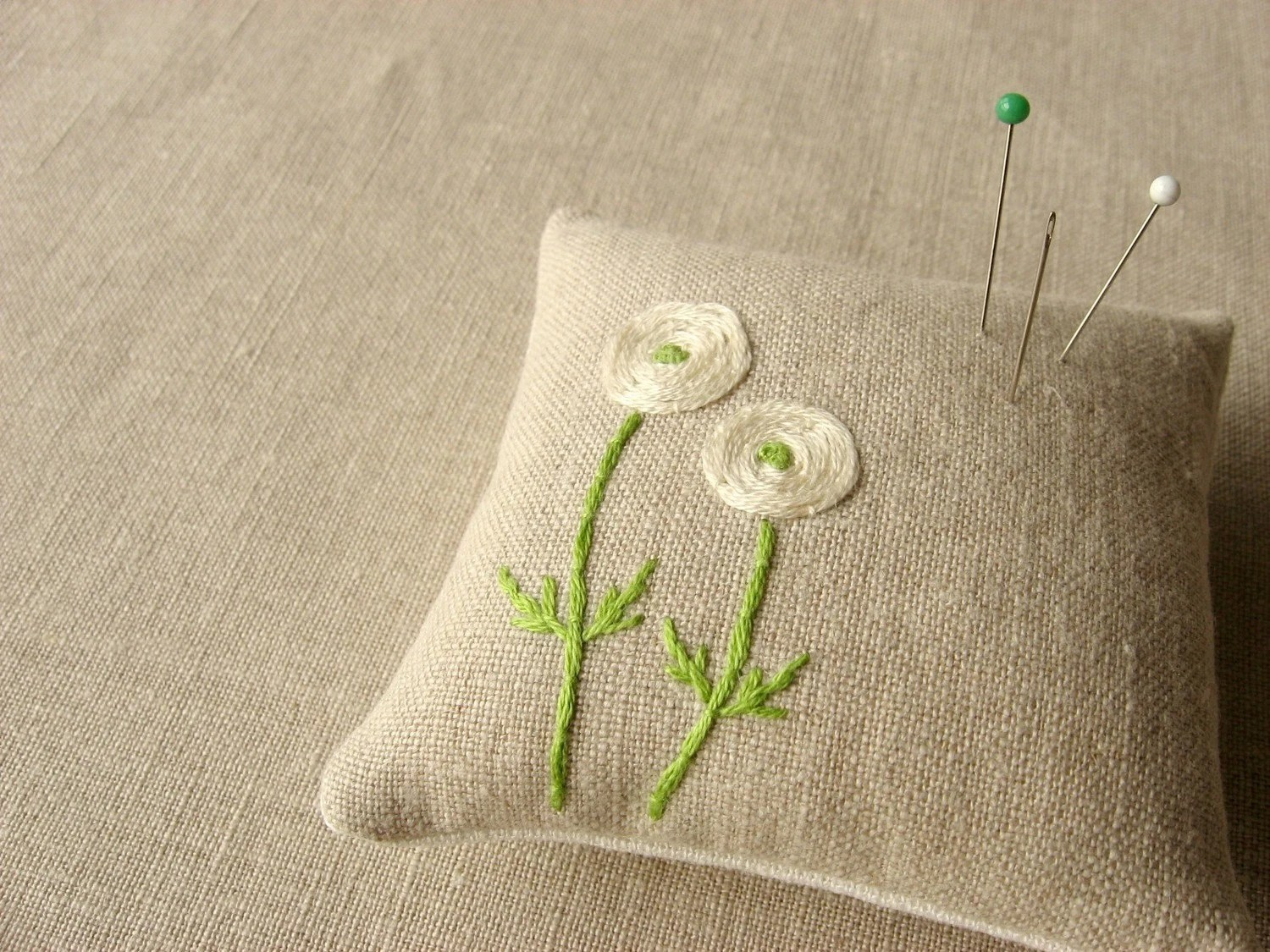 spring green pin cushion