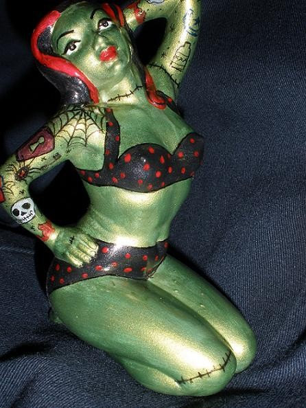 PSYCHOBILLY ZOMBIE HORROR PIN UP WITH TATTOOS. From FLOOZYPINUPS