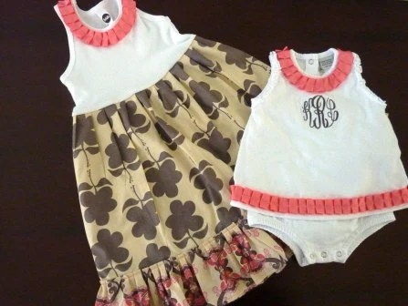 Big Sis Little Sis - Dress and Bubble (monogram included)