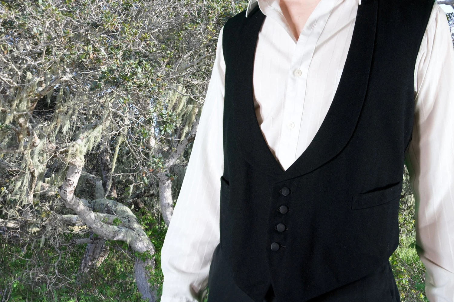 black antique Edwardian vest with four covered buttons