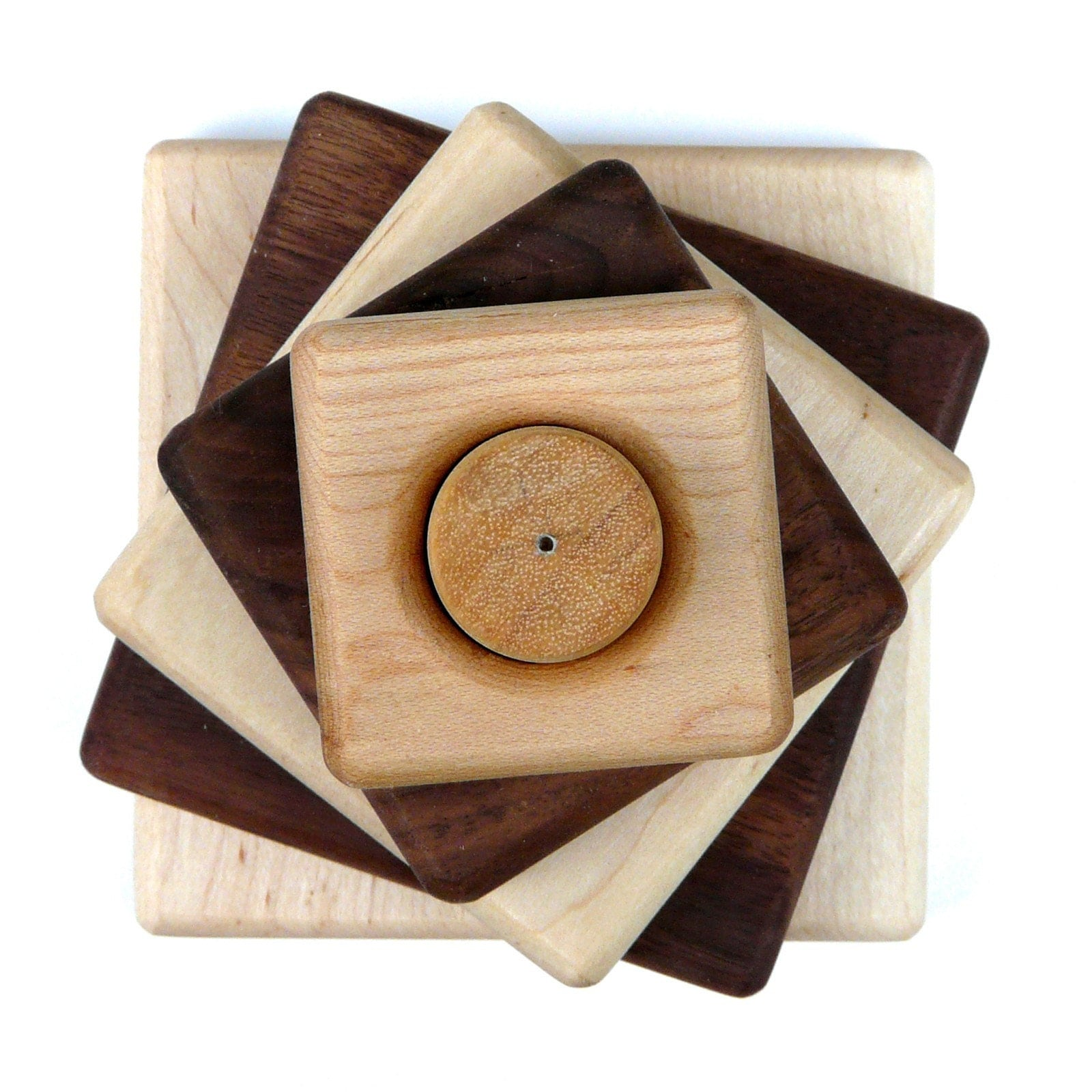 Maple/Walnut wood stacking toy