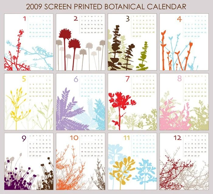 Soothing bottanical prints on this calendar--comes with jewel case stand. From Annacotes Etsy shop.