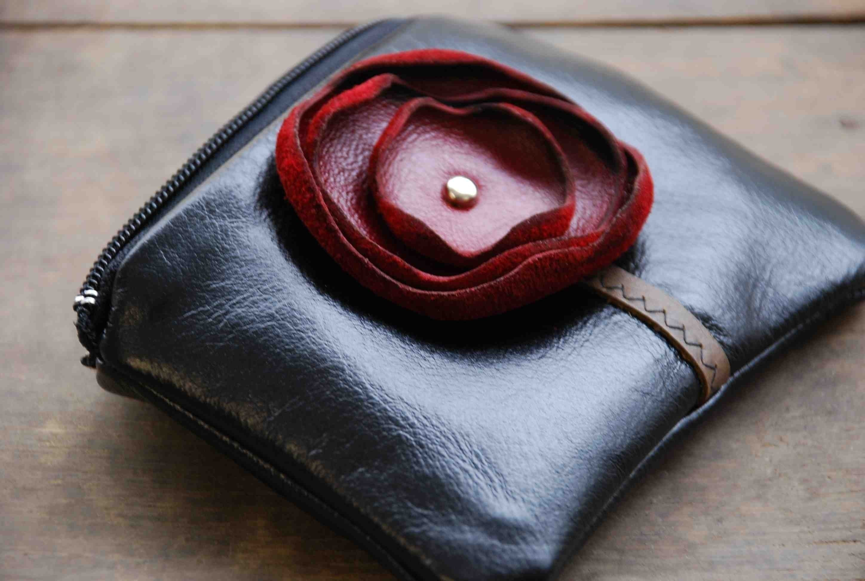 Leather Poppy Mini Pouch