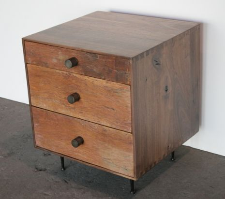 reclaimed wood nightstand with antique brass pulls and iron legs