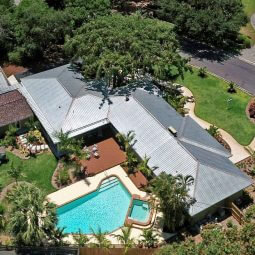 Arial of house with pool