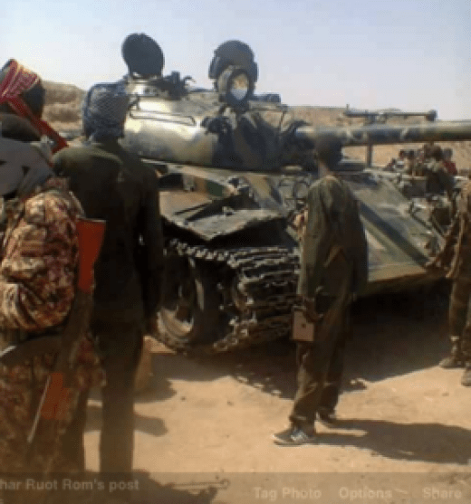 An SPLA-IO tank captured from SPLA-IG during the war in Upper Nile(Photo: file)