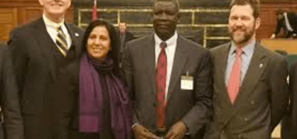 Henry Odwar, the Deputy Chairman of SPLM/A in Opposition, posting with friends(Photo: file)