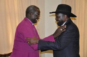 President Salva Kiir and Bishop Deng Bul in Juba