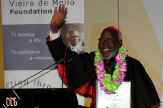 Bishop Paride Taban being honoured at an event in Rome, Italy!