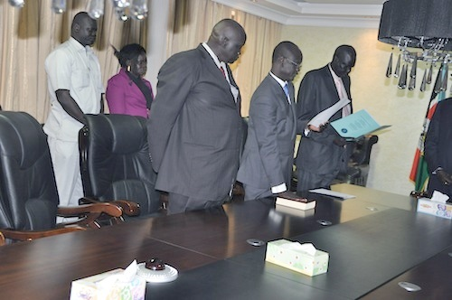 Telar Ring Deng being sworn in as Salva Kiir's Legal Advisor(Photo: file)