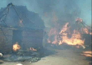 Tukuls set on fire by South Sudan government troops during a recent fighting in Wau State(Photo: file)
