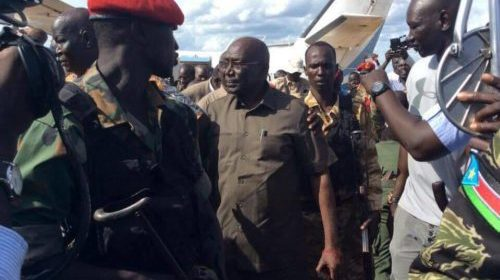 Malong Awan, former army chief landed at Juba airport from Yirol after a few days of rebellion. Malong remains under house in Juba (Photo: supplied)