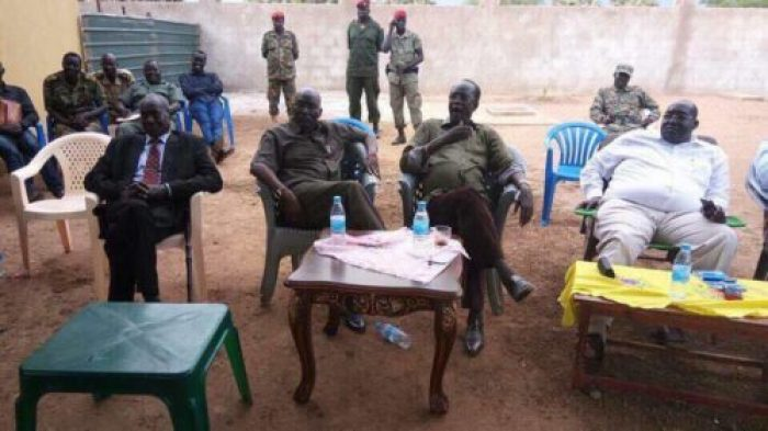 Malong Awan, meeting Jieng elders sent to him in Yirol, Lakes State, to convince him to return to Juba (Photo/supplied)