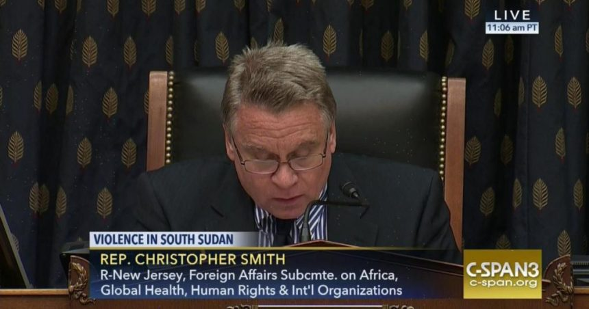 Christopher Henry Smith , the U.S. Representative for New Jersey's 4th congressional district, briefs the Council in May, 2017 on South Sudan Crises(Photo: file)