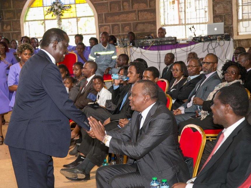 ODM leader Raila Odinga shakes hands with President Uhuru Kenyatta during the late former Cabinet Minister(Photo: file)