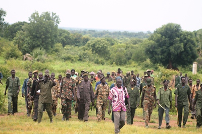 Forces of SPLA-IO pictured at around Masana Biira, Wau, Western Bhar el Ghazal, on 07, August 2017(Photo: file)