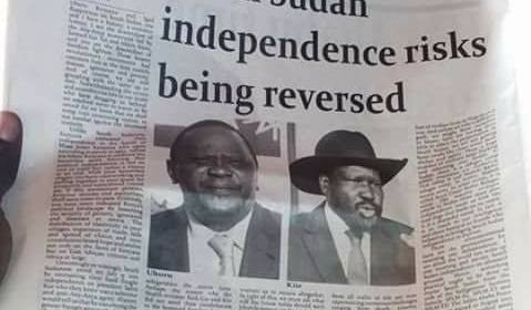 A caption on Kenyan newspaper urged President Uhuru to intervene to save South Sudan independence from being reversed