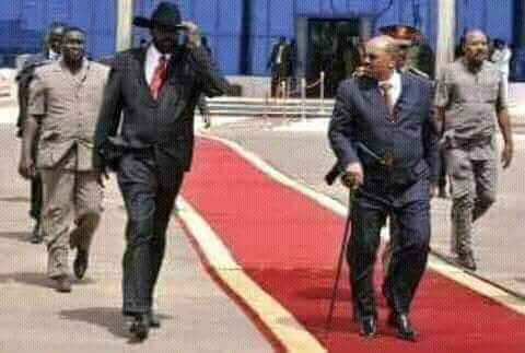 President Kiir welcoming Sudanese president in his country(Photo: file)