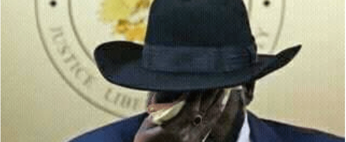 President Salva Kiir wipes his face in public with a pink handkerchief(Photo: file)
