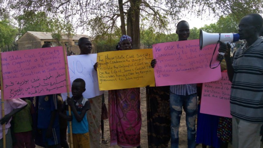 Phou State Civl Society Organization protest in Old Pangak over unlawful sentencing of James Gatdet Dak in the capital, Juba(Photo: file)
