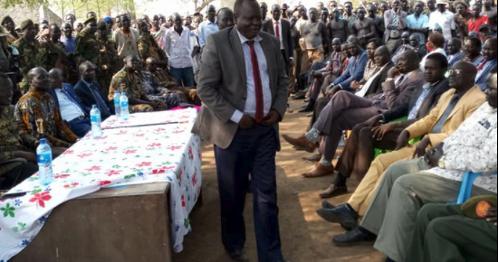 Gen. Gathoth Gatkuoth, Minister of Labour, public service and resource development giving a speech in Maiwut, February, 2018(Photo: Nyamilepedia)