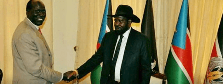 "Hon. James Kok Ruei meeting President Salva Kiir after his appointment as a governor of ""Western Bieh State""(Photo: file)"