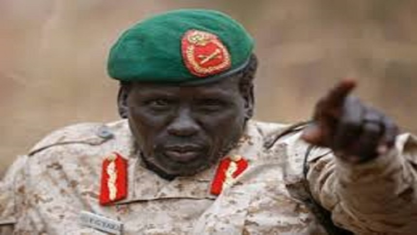 Gen. Peter Gatdet Yaka gesture in a rebel-controlled territory in Jonglei State February 1, 2014. REUTERS/Goran Tomasevic (SOUTH SUDAN)