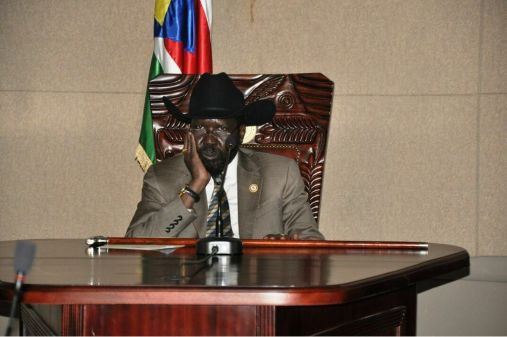Nightmared South Sudan President, Salva Kiir Mayardit, thinking through a tough-day interview on his desk in the war-ragged presidential palace in the capital, Juba(Photo: file)
