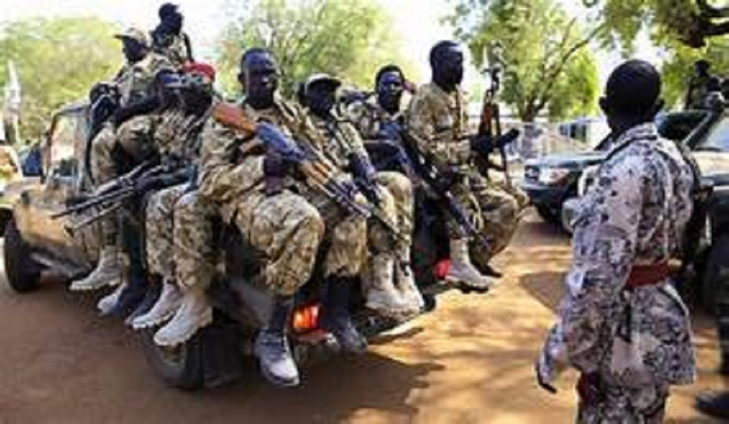South Sudanese soldiers in a pick-up vehicle | File photo