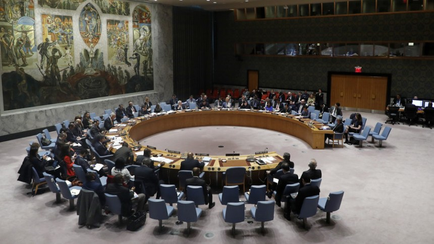 The UN Security Council meeting on the situation in Syria at the UN headquarters in New York, on April 4, 2018. (photo credit: Li Muzi / Global Look Press)