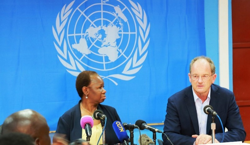 UN Assistant-Secretary General for Peace keeping Operation, Bitou Keita, speaks to the press in Juba on April 19th 2018 (File photo)