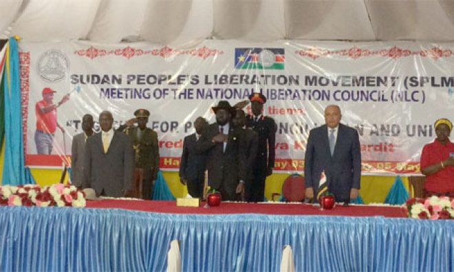 South Sudan's incumbent, Salva Kiir Mayar, Uganda President, Yoweri Museveni and Egyptian Foreign Affairs Minister inaugurating the 4th Conference of SPLM-IG Liberation Council Meeting(Photo: file)