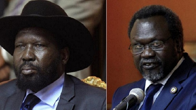 President Kiir (L) Rebel leader Riek Machar (File photo)