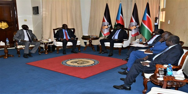 South Sudan President meeting his two vice presidents, Taban Deng Gai and the James Wani Igga on 28 June 2018 at the Presidential Palace J1 (Photo credit: Presidential Press Unit)