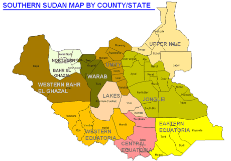 Map of South Sudan featuring former Lakes State (File photo)