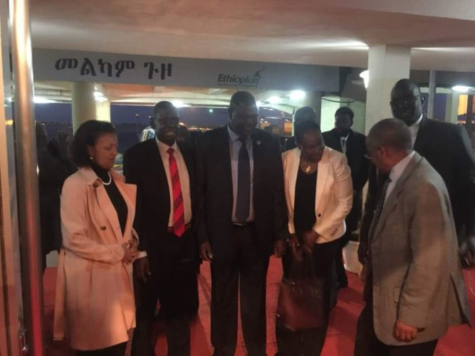 South Sudan's First Vice President, Dr. Riek Machar Teny, received in the Ethiopian capital of Addis Ababa, June 20th, 2018(Photo: file/supplied/Nyamilepedia)