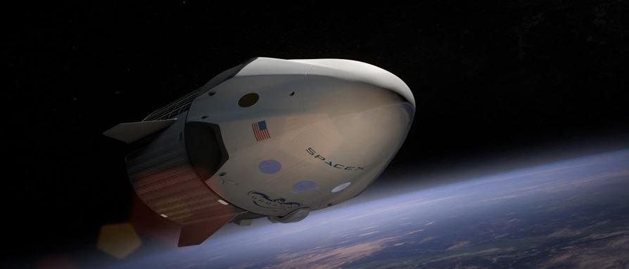 An artist's conception of the crewed Dragon spacecraft. SpaceX