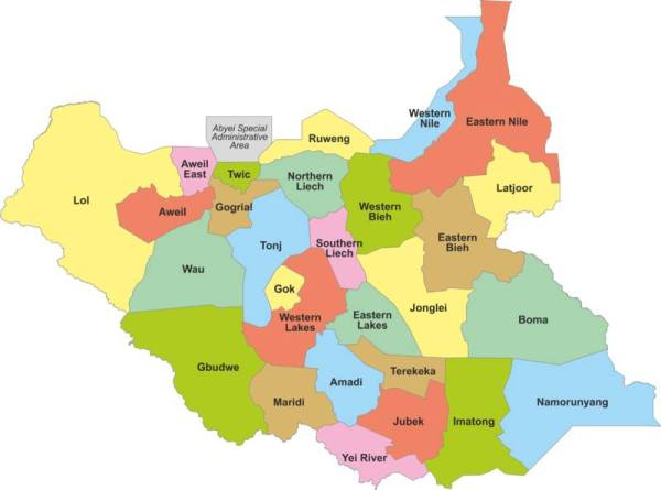 A look of South Sudan's 32 states (File Photo)