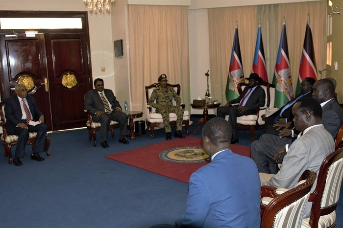 South Sudanese president Salva Kiir as he meet the Sudanese delegation led by defense minister and head of the national security (File photo)