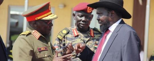 Gen. Paul Malong (L) greeting President Kiir (R) in Juba (File Photo)