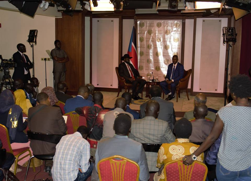 South Sudanese President, Salva Kiir Mayardiit speaking to Sudanese journalists at the State House J1 in the capital Juba on August 3rd 2018 (File photo)